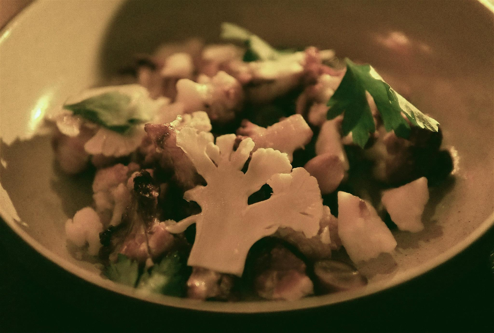 Cauliflower roasted with grapes, cheddar and marcona almonds