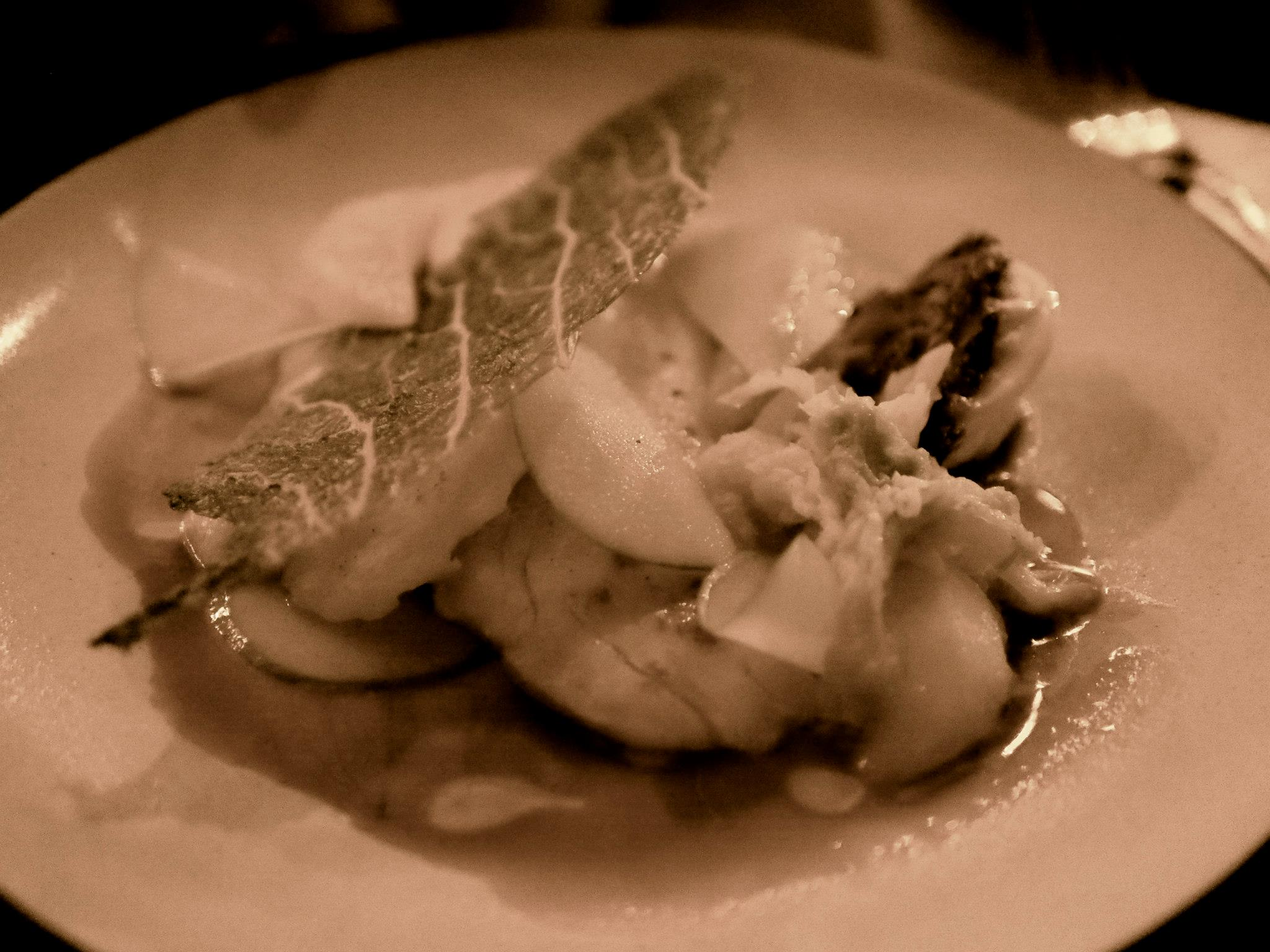 Sea Bass with fried kale and cabbage
