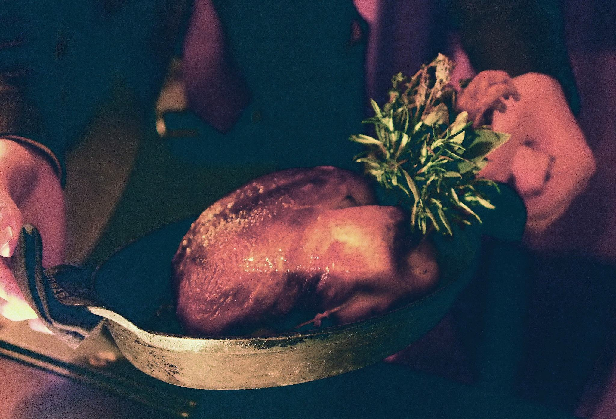 Whole roasted chicken stuffed with foie gras, black truffle and brioche
