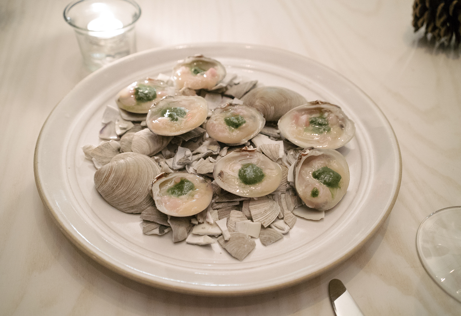 Raw Clam, Grilled Lettuce, Almond
