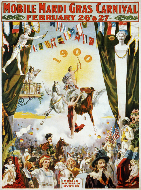 Promotional poster for the Mobile Mardi Gras Carnival, February 26th & 27th 1900.