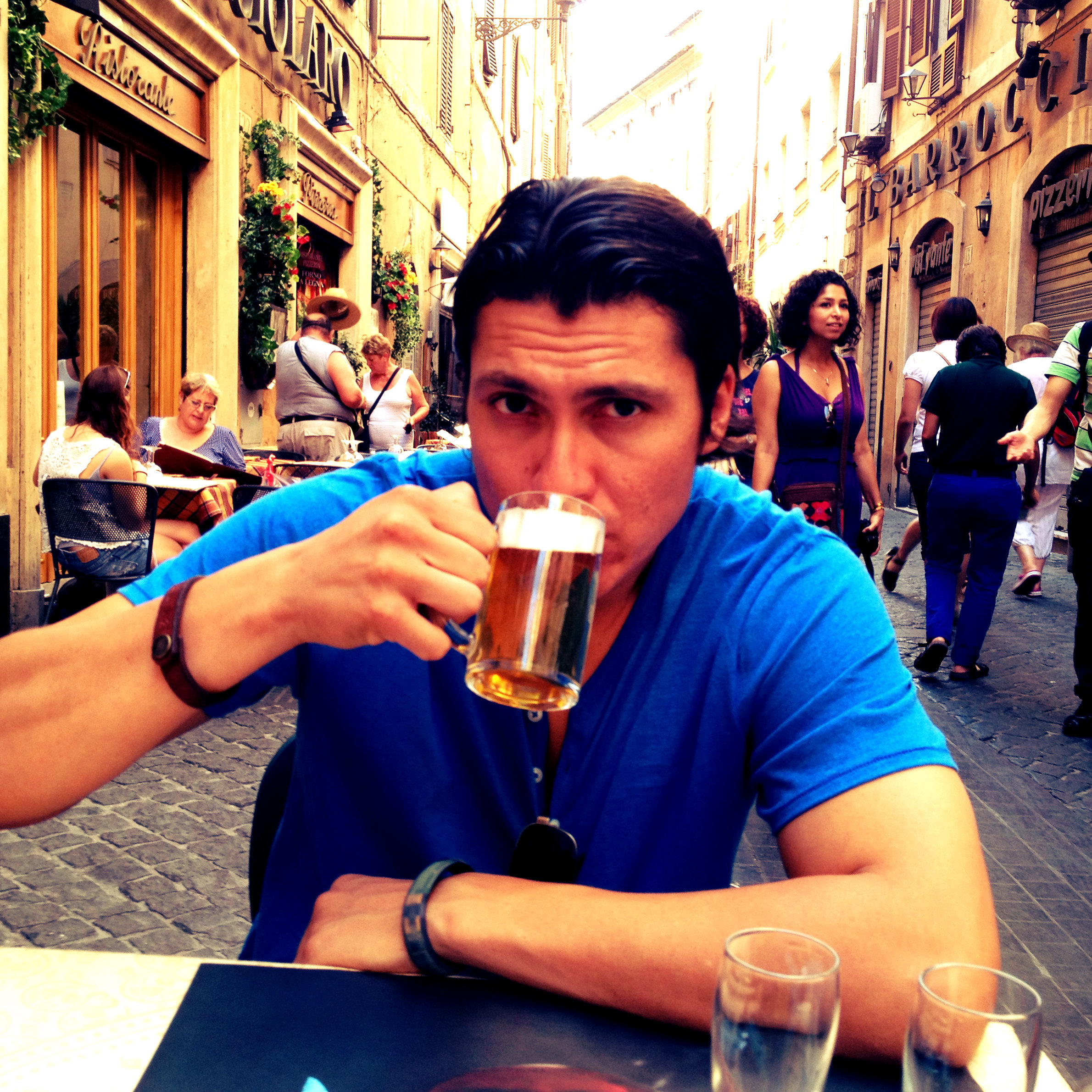 Steve enjoying a brew in Rome