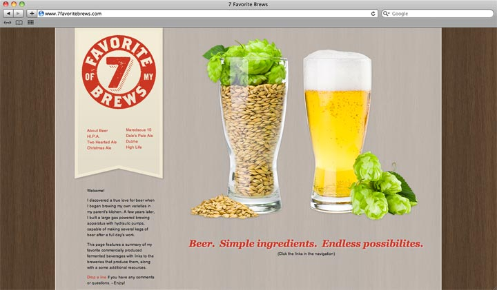 I've been programming a plain  html based single page website with anchored links and fixed navigation,  highlighting my favorite brews!