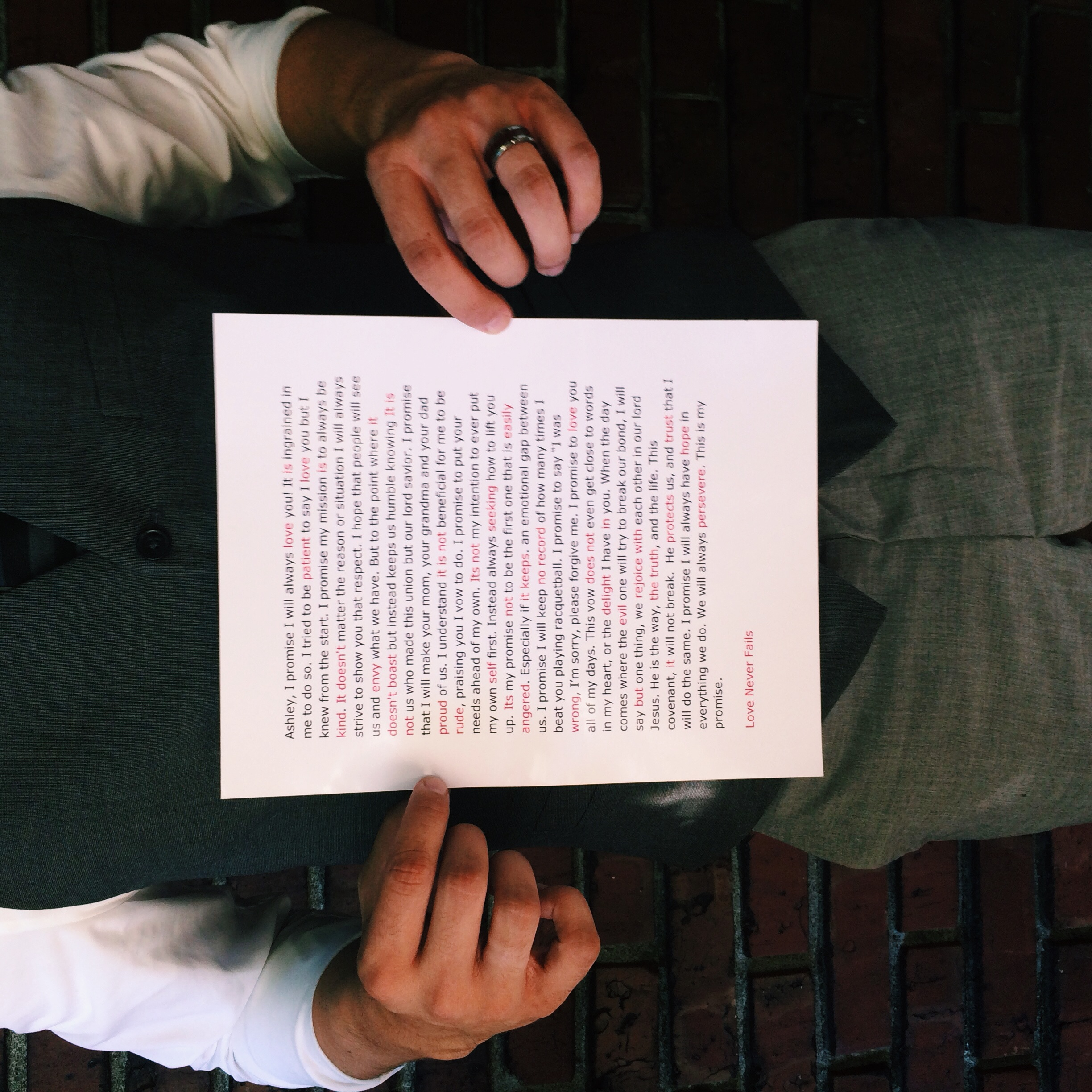 Spencer shows us his one-of-a-kind vows. Then words in red come together to show 1 Corinthians 13:4-8.
