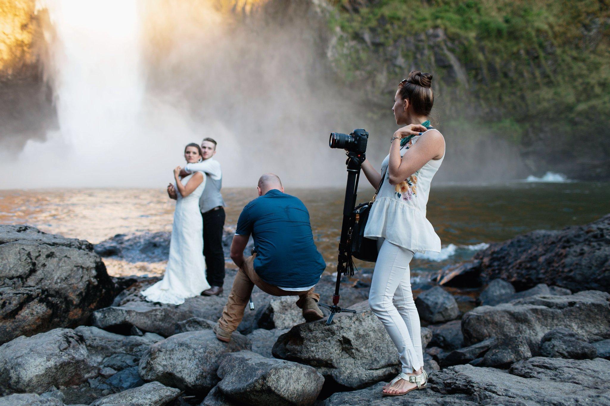 Love this shot Jonathan Gipaya grabbed of us filming at Snoqualmie Falls.