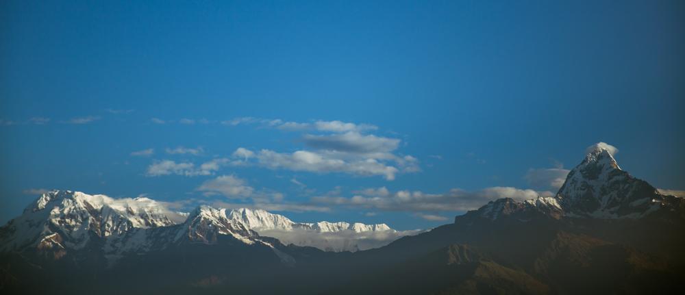 Annapurna Mountain Range, on a clear morning from Phokara. Awesome.