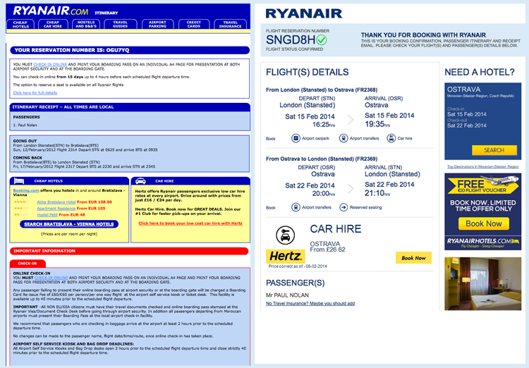 Ryanair itinerary emails: then and now