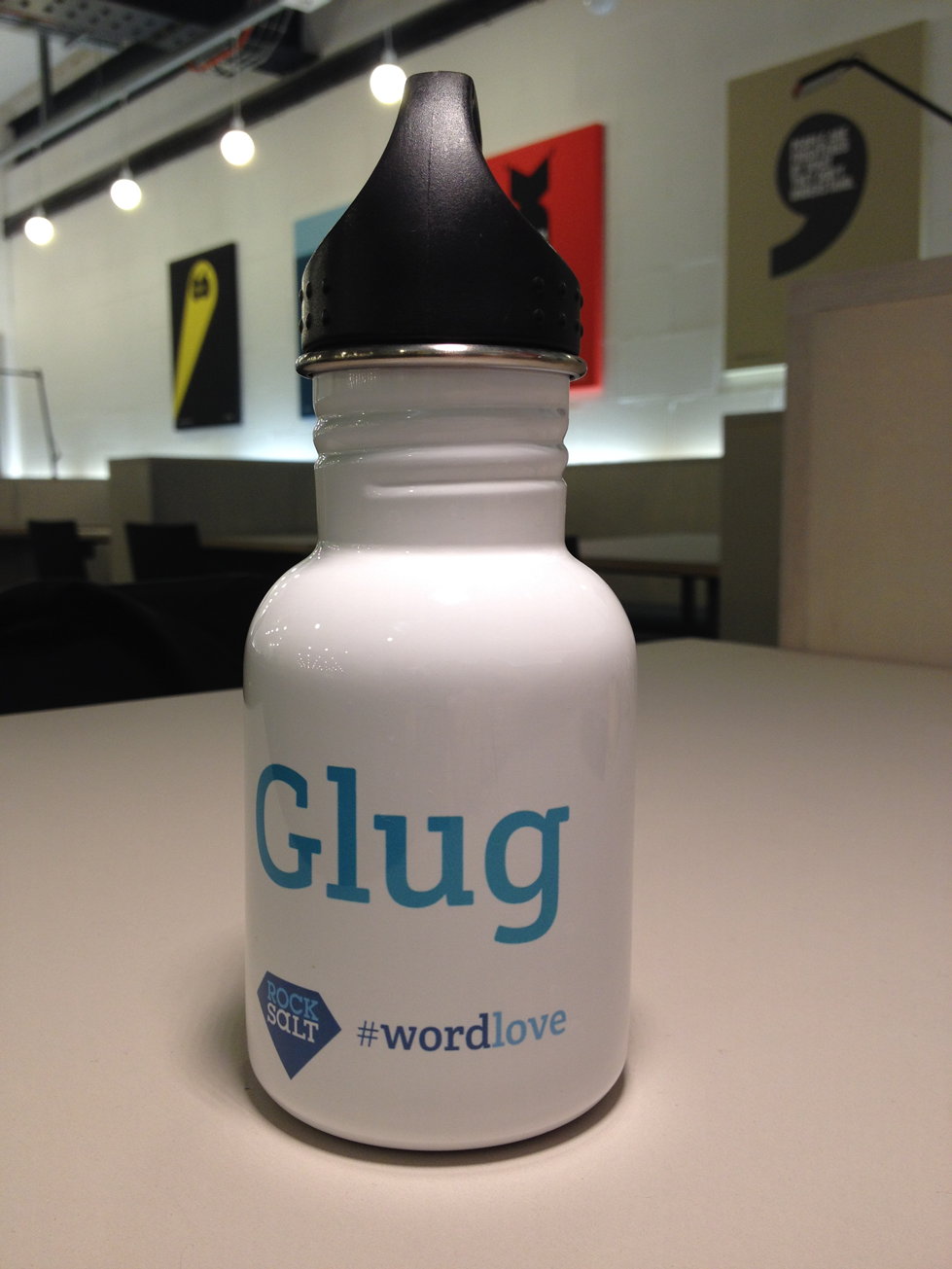 """Runners up receive a super cute and handy """"Glug"""" Word Love water bottle."""