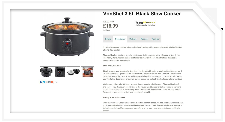 Product description: Slow cooker