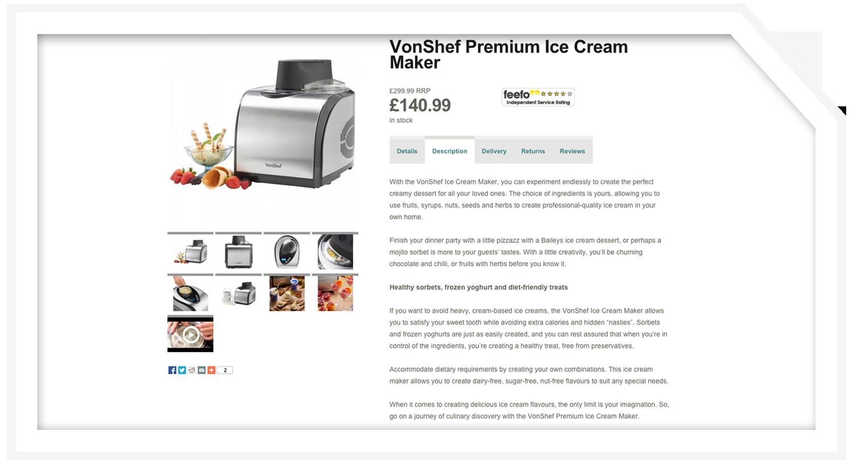 Product description: Ice cream maker
