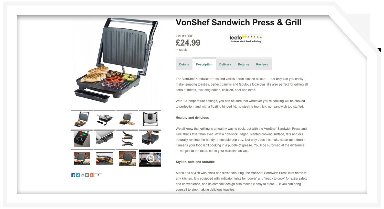 Product description: Sandwich press
