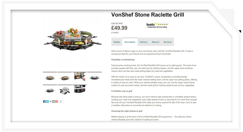 Product description: Raclette grill