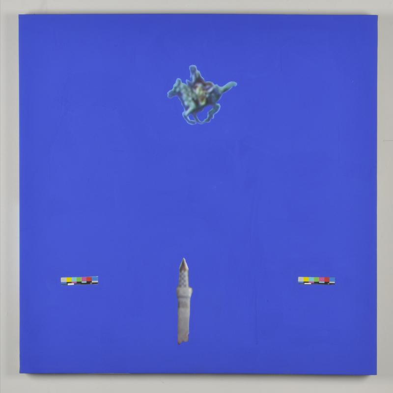 Vanessa Hodgkinson. X-47 Pegasus (Verso), 2013.Gouache and blue screen emulsion on digitally printed canvas.(46.5 x 46.5 x 1.5 inches.