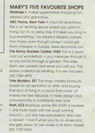 Marys Portas picks us as one of her 5 favourite shops  for the Sunday Times Style supplement