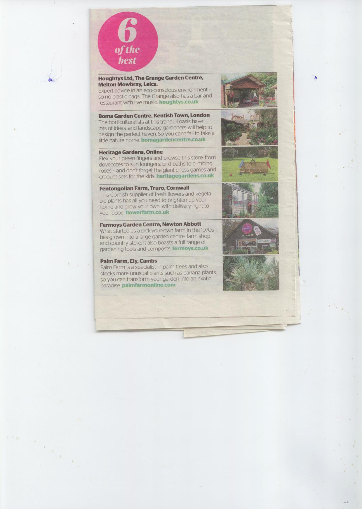 Picked in top 6 Garden Centres by the Times