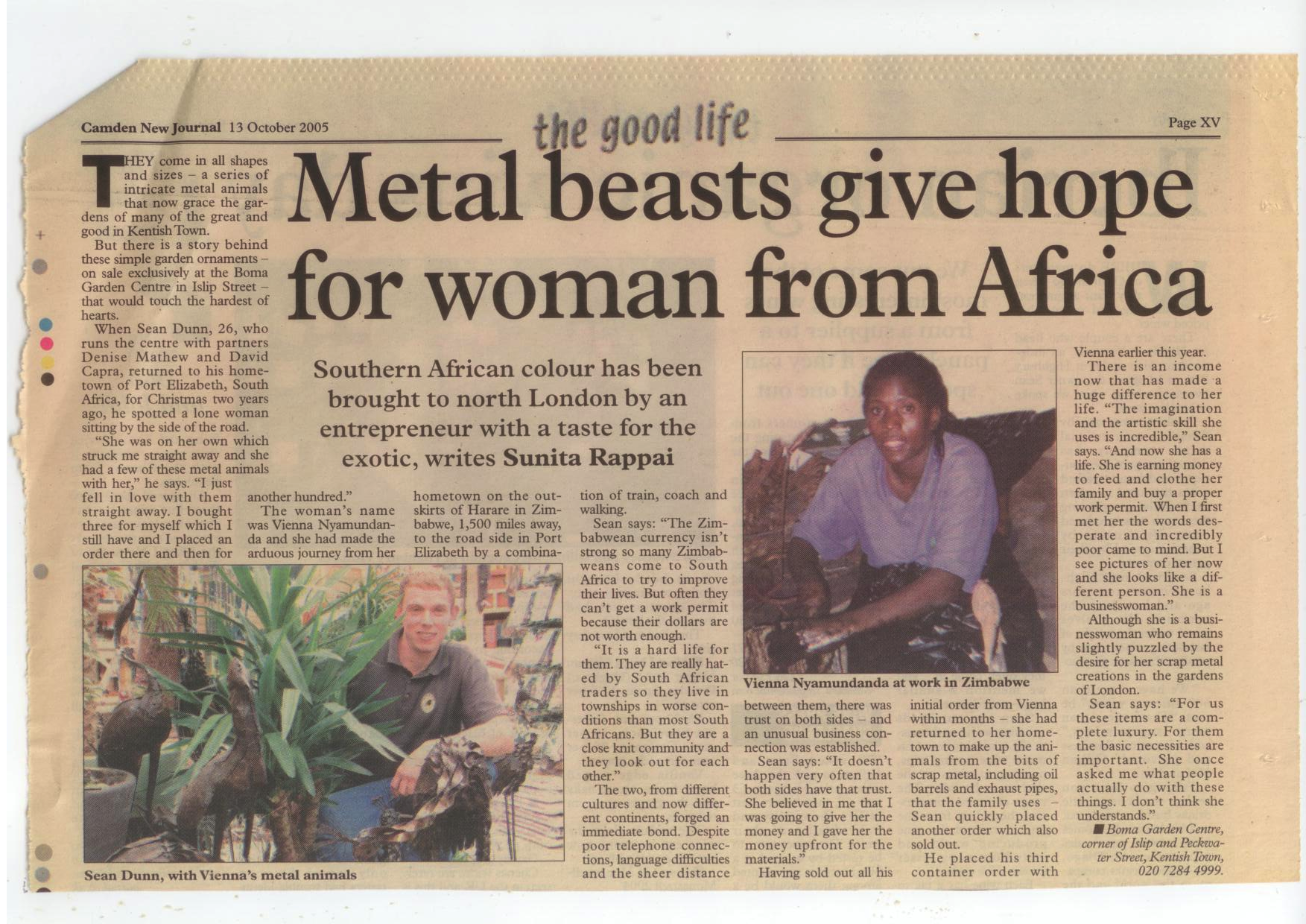 Lovely article in the Camden new Journal about our Zimbabwean metal animals