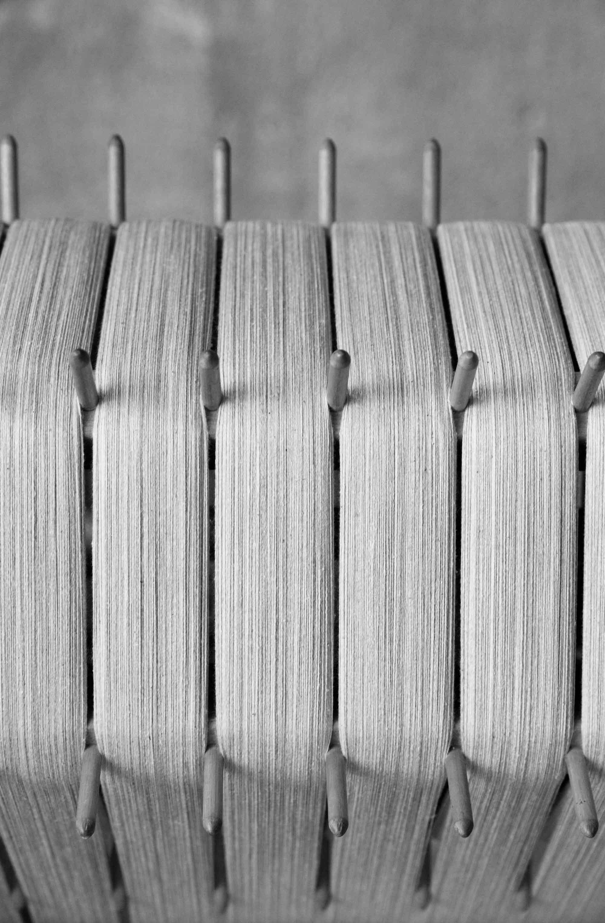 The segmented warping beam dressed to weave 50 yards of cloth.  Nicole Franzen