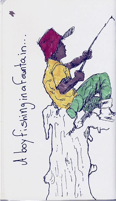 Marcos D. Santiago Rivera - A Boy Fishing in a Fountain.jpg