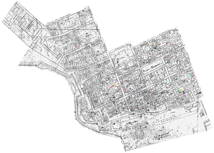 Mapa #1: Ejemplo del mapa elaborado. (1921). Detalles del  General Plan of San Juan , barrio Catedral. Puerto Rico Board of Fire Underwriters.