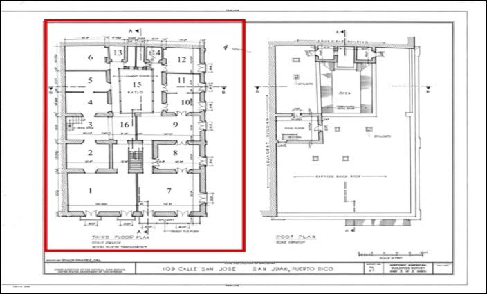 [2]  Plano del tercer nivel de la casa 27 (109) en la calle San José, San Juan. (HABS, LOC).