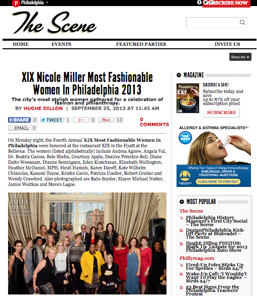 4th Annual XIX Nicole Miller Most Fashionable Women In Philadelphia 2013