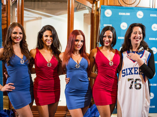 Sixers Dancers and Mary K. Dougherty