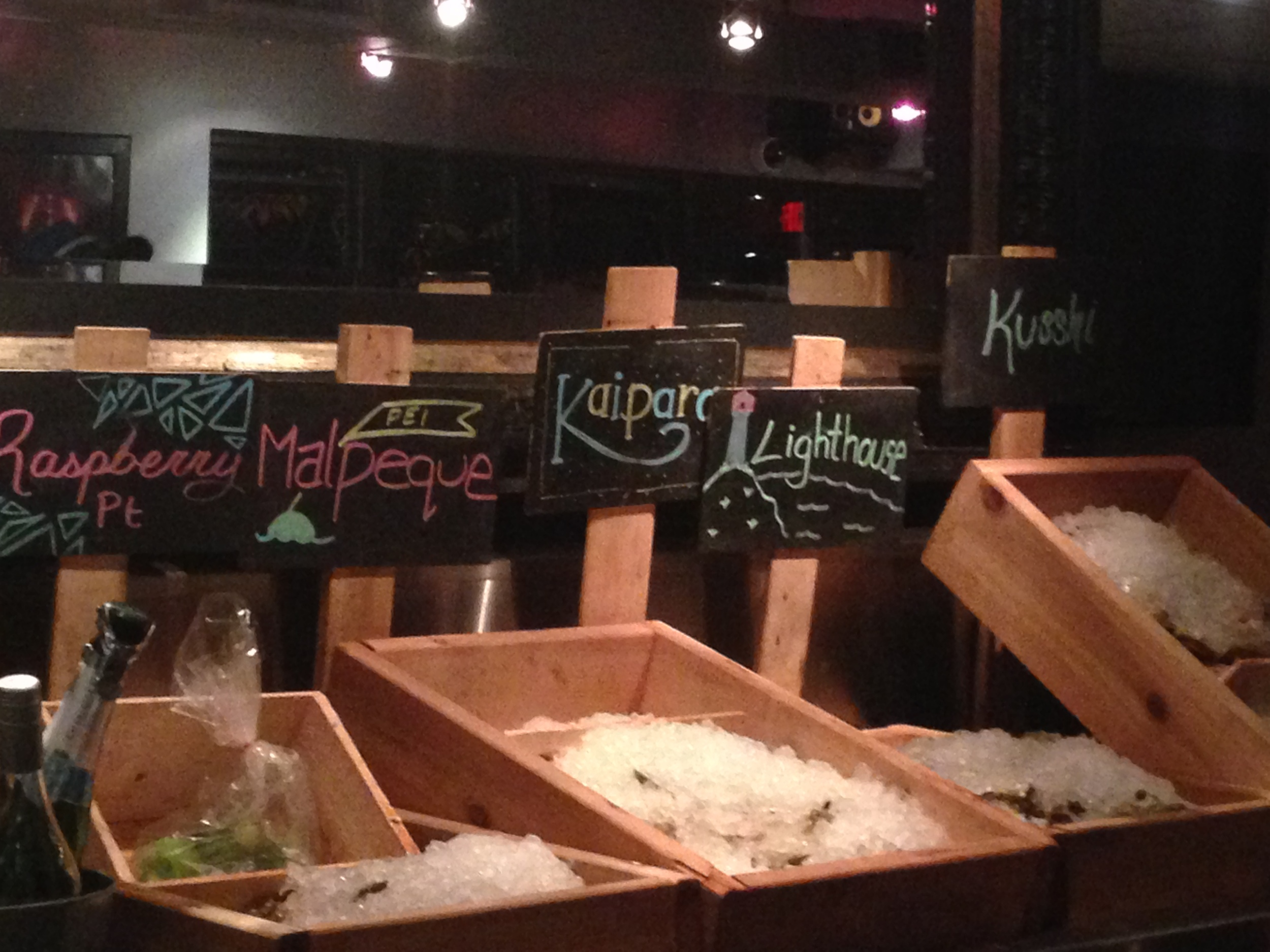 Kaipara Oysters from New Zealand on the podium at Chewies in Vancouver.