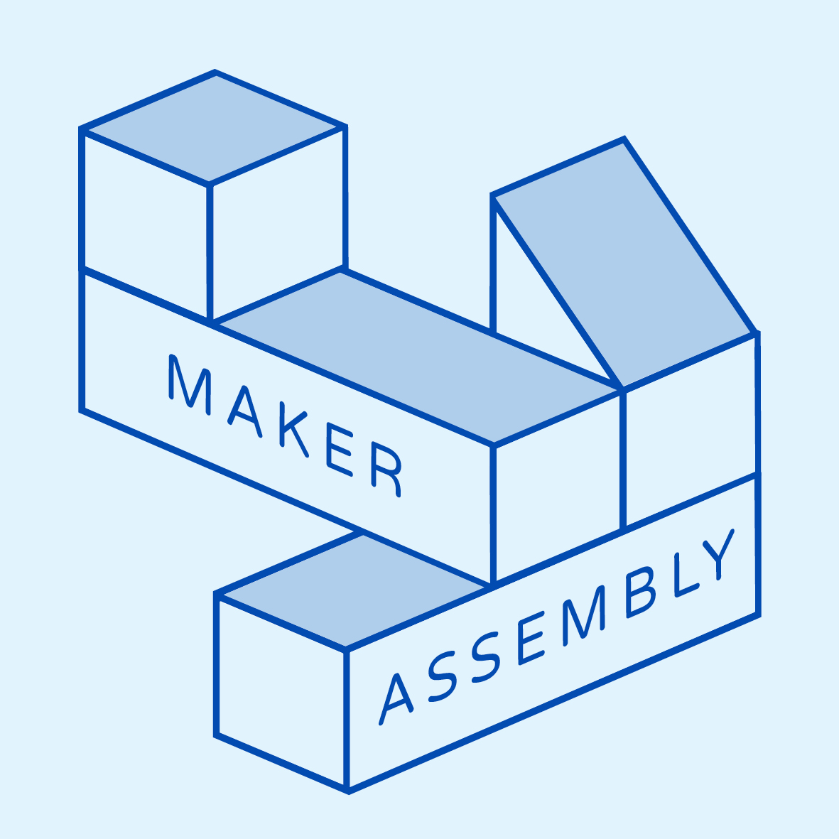 Maker Assembly logo, blue