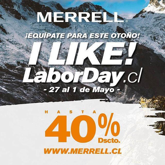 ¡Celebra en grande con Merrell! ¡Se el primero en aprovechar todos los descuentos de @merrellchile ! 💥 Mira cada uno de los productos aquí 👉 merrell.cl  #labormerrell #laborday