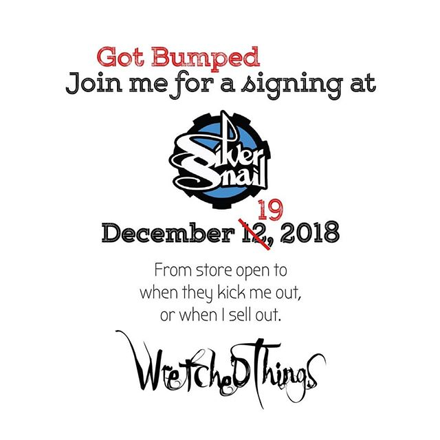 My signing at Silver Snail got bumped up a week, but still in time for last minute holiday shopping! . . . #comics #indiecomics #indie #comicbooks #fantasy #horror #graphicnovel
