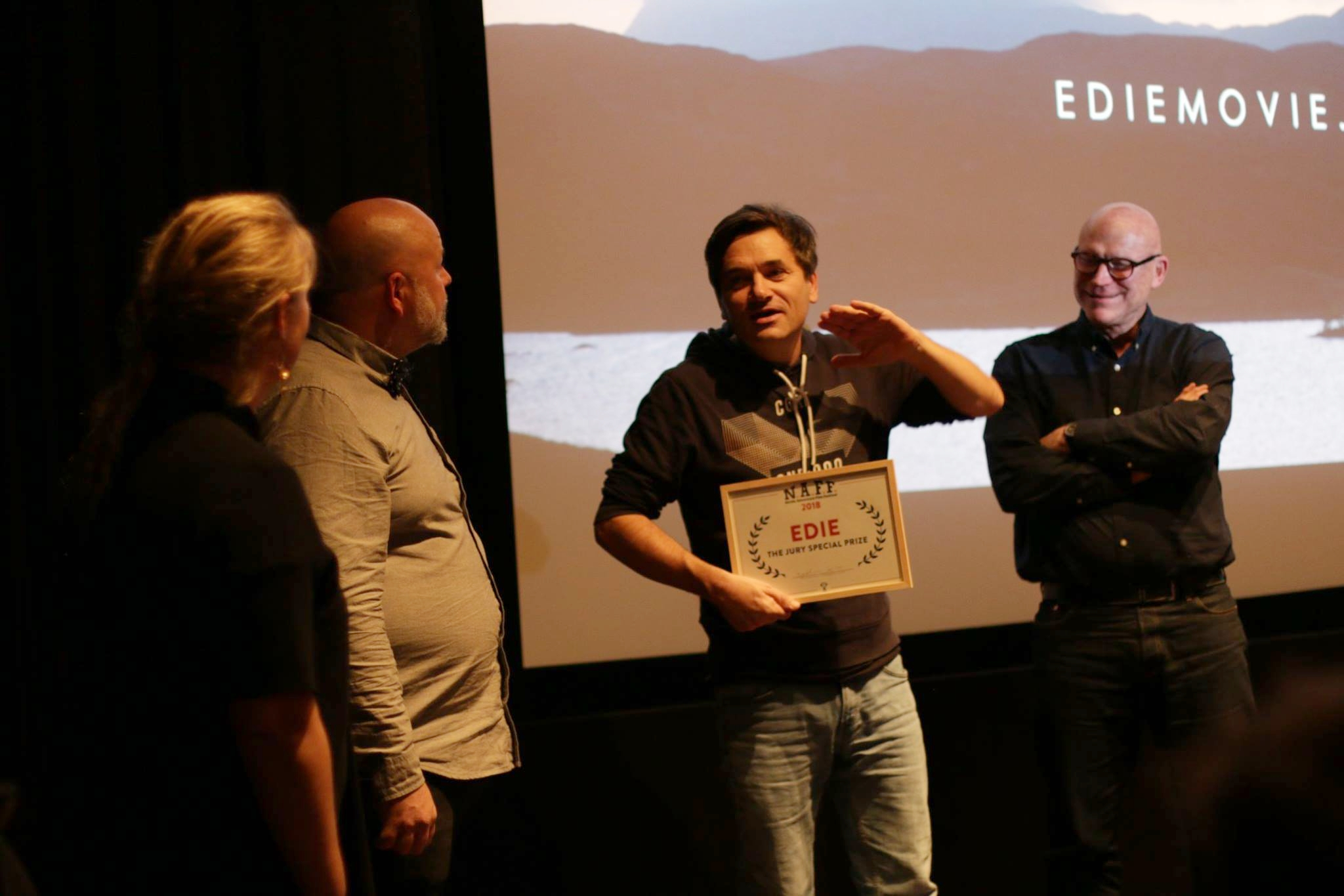 Director of EDIE SIMON HUNTER and Producer MARK STOTHERT at the  Nordic Adventure film Festival  in  Copenhagen .