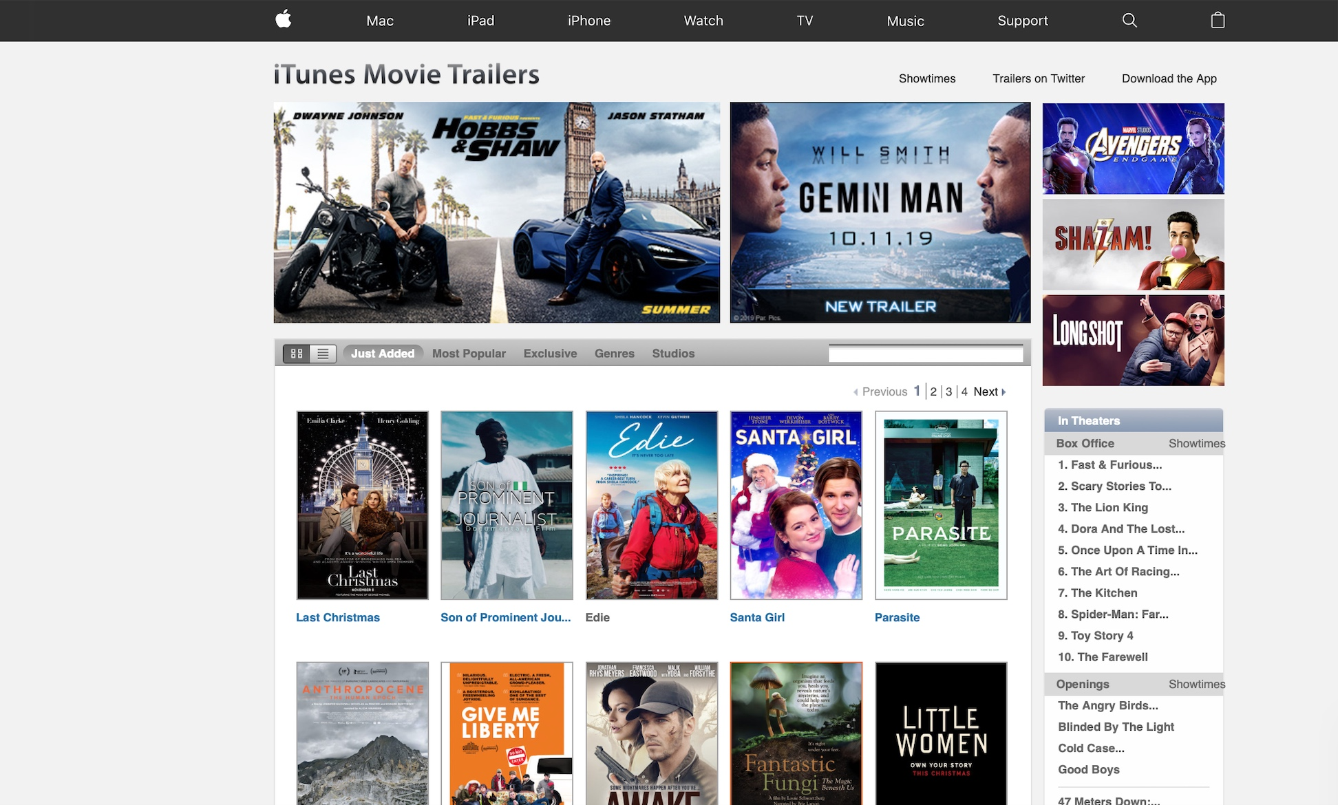 Apple iTunes trailer page