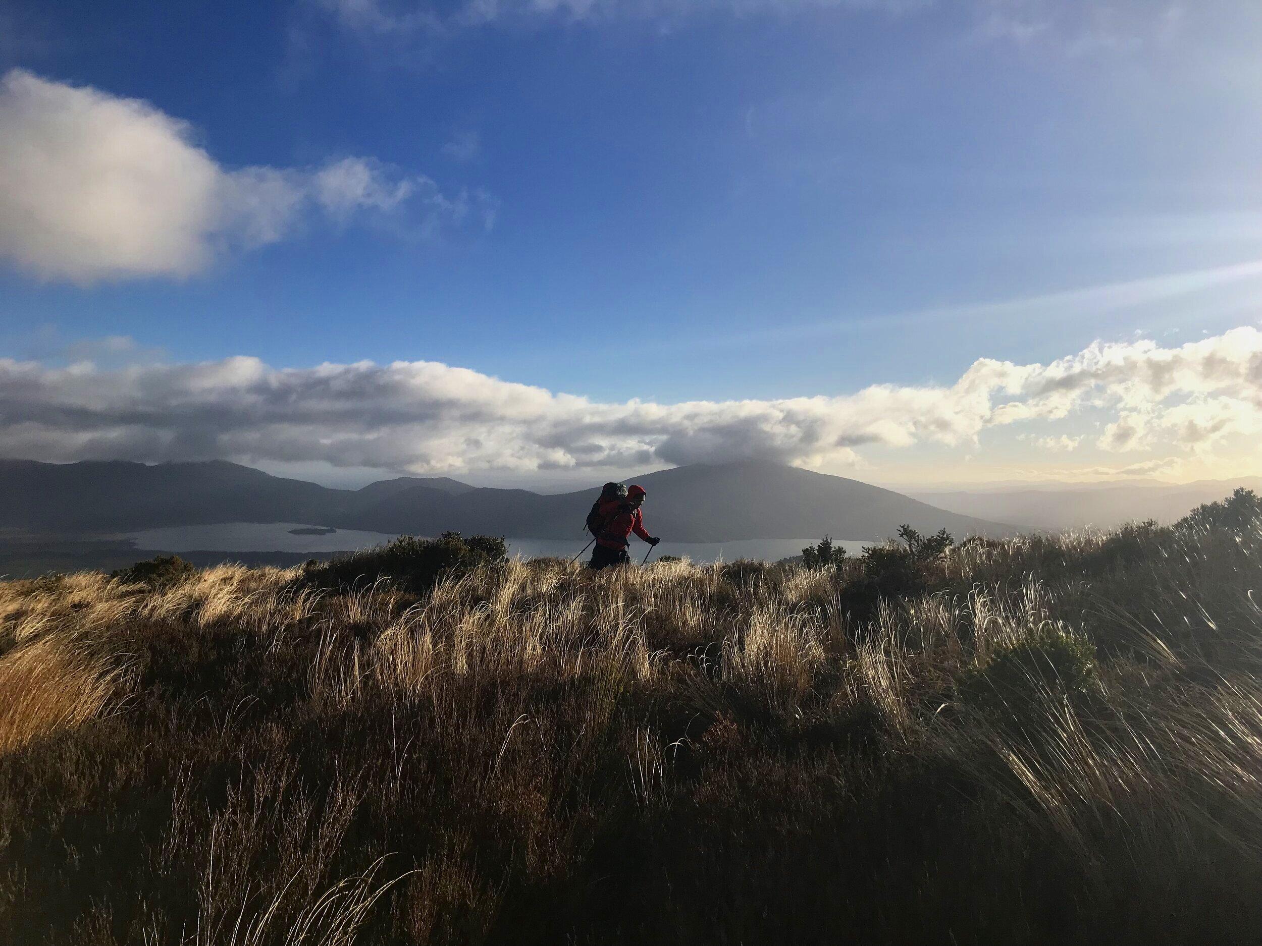 Simon hiking through New Zealand