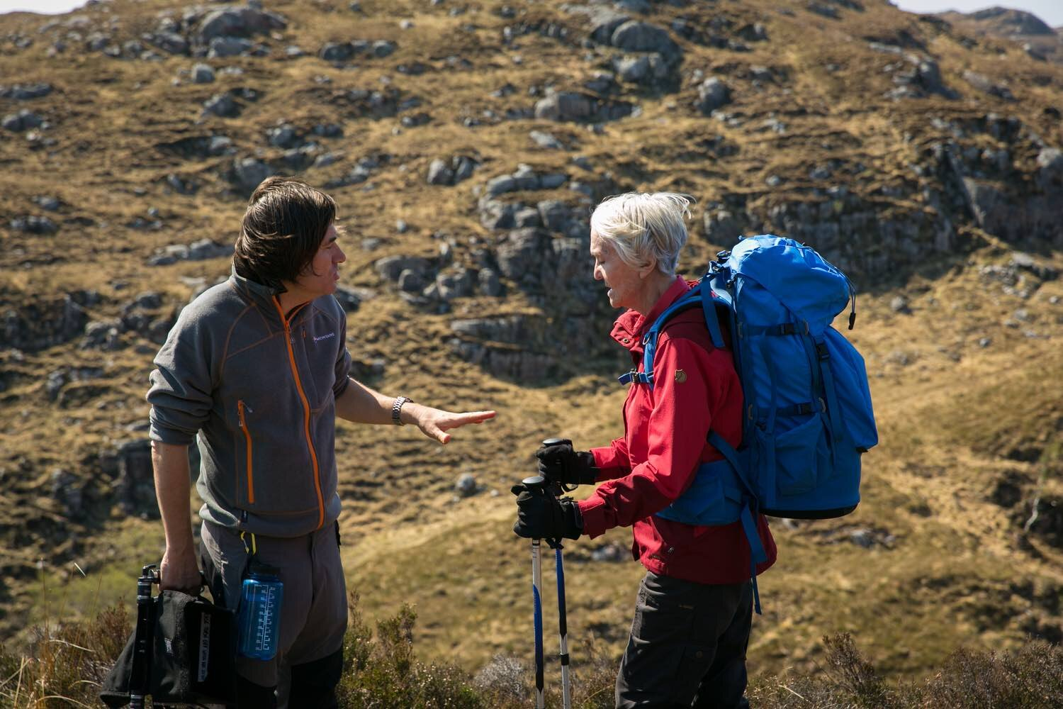 Simon discussing a sequence with Sheila Hancock. Sheila is setting out on her journey towards the mountain.