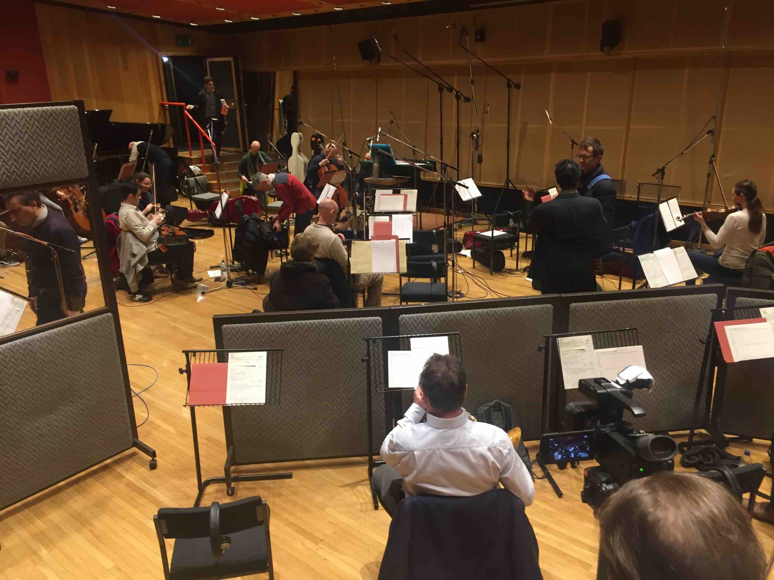 Recording the musical score at Angel recording studios, London