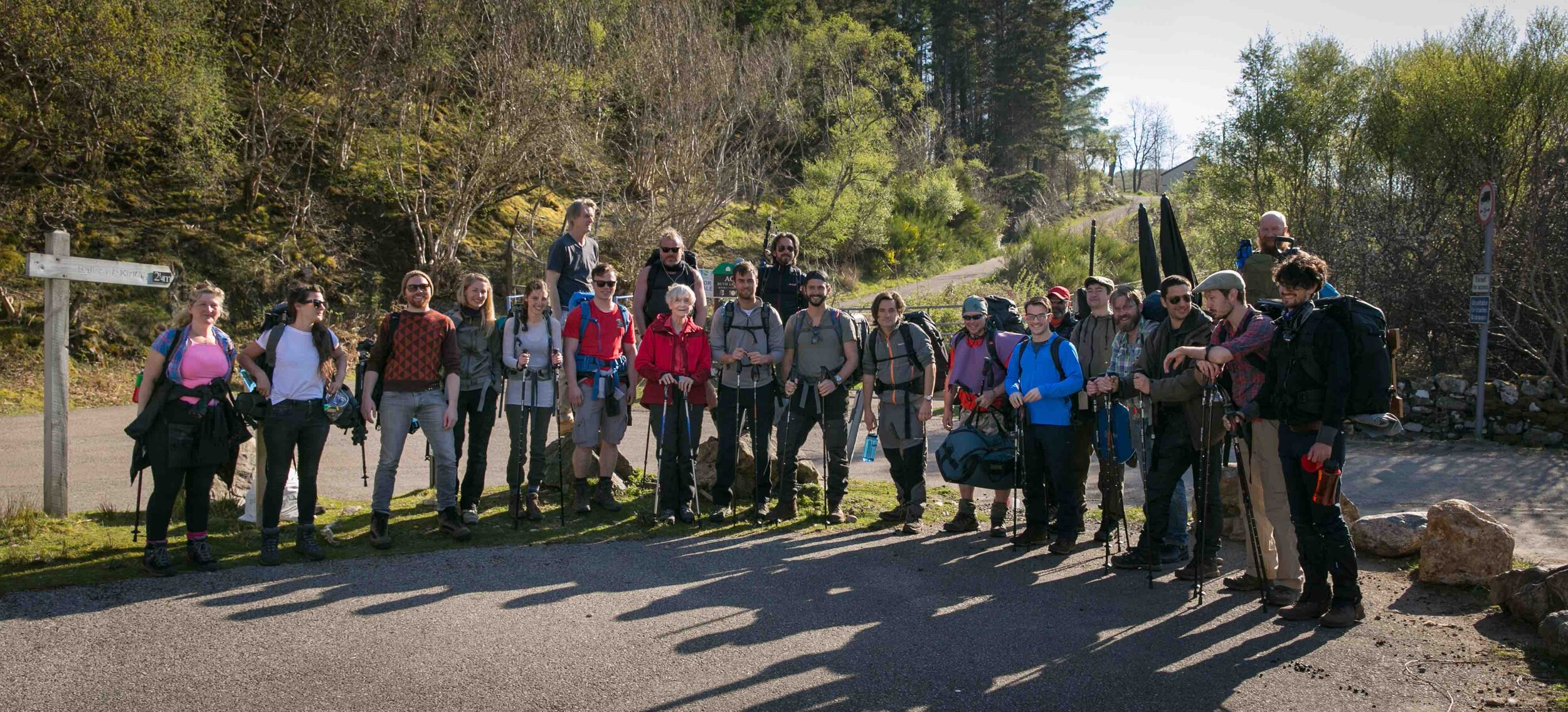 The cast and crew and as they set off to climb Suilven.