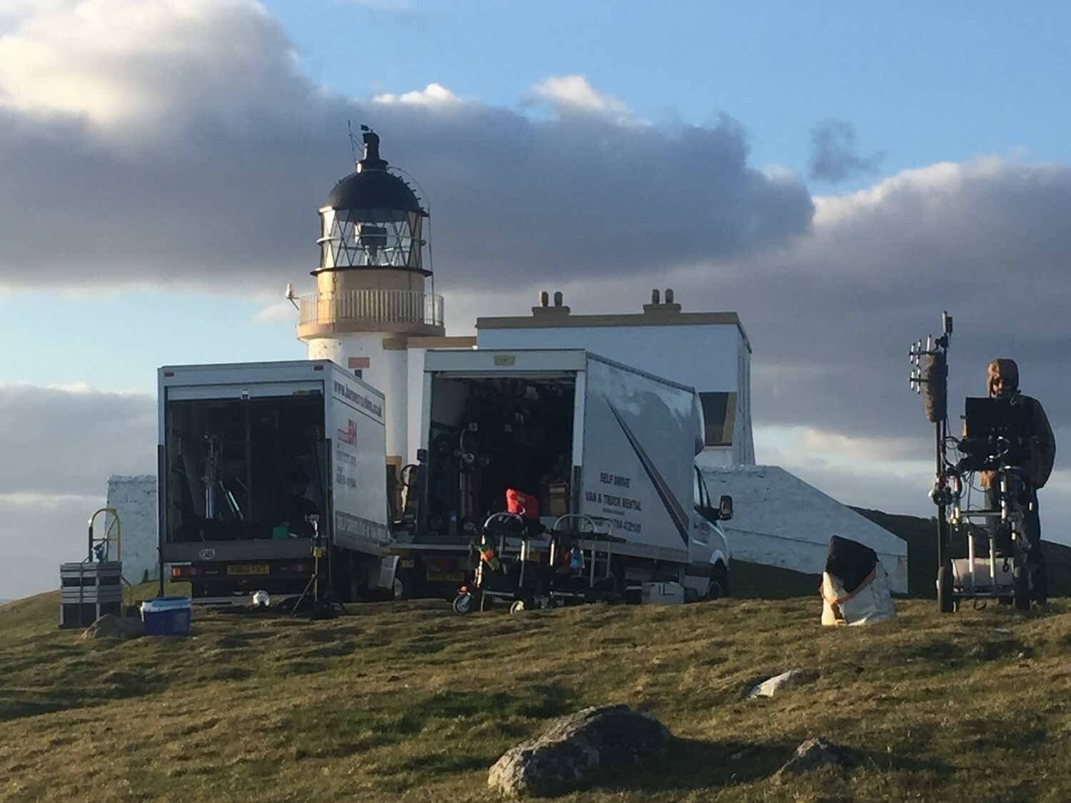 Unloading kit at Stoer Lighthouse in Sutherland.