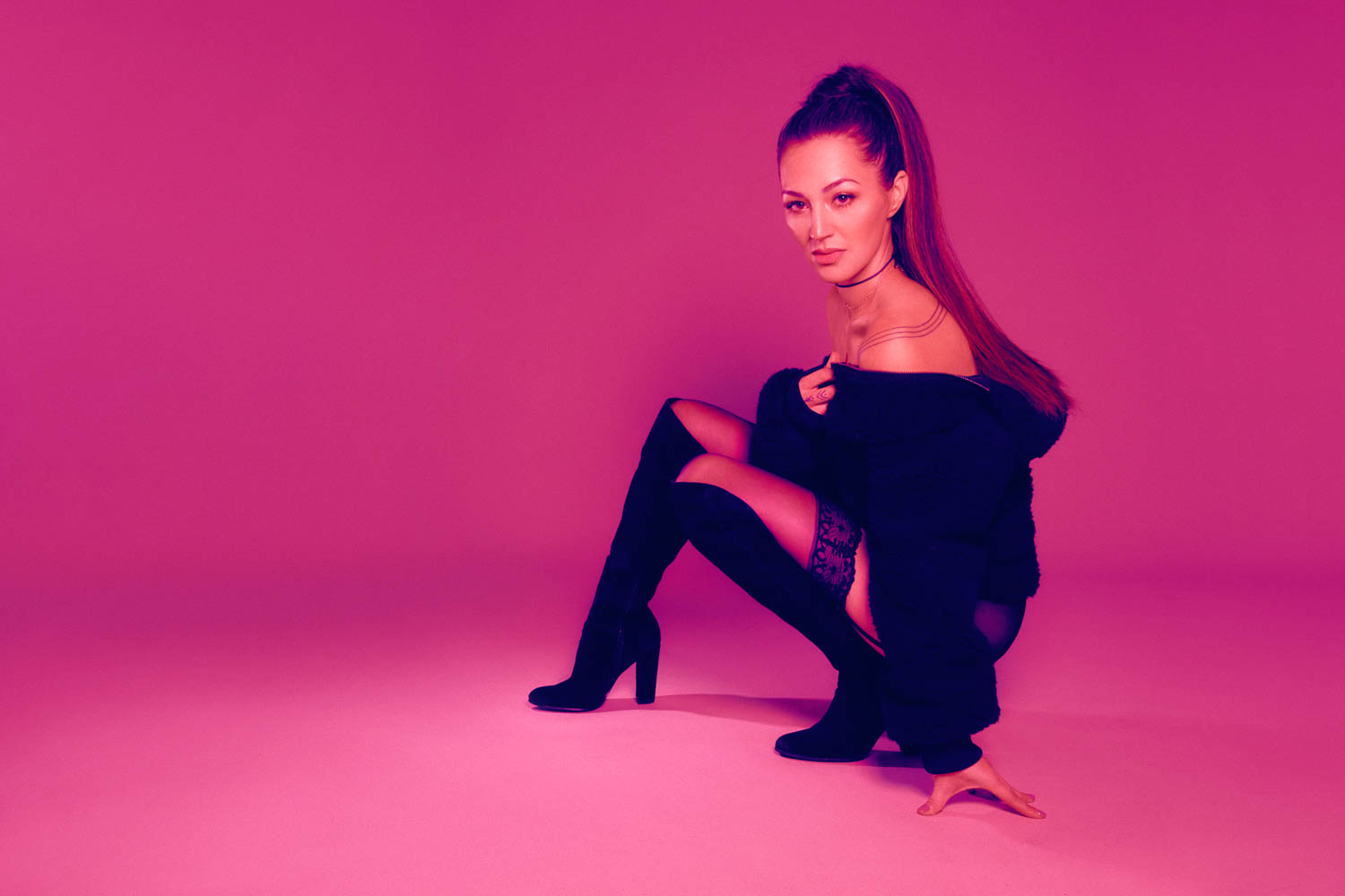 Boudoir session with Ariana Grande ponytail hair