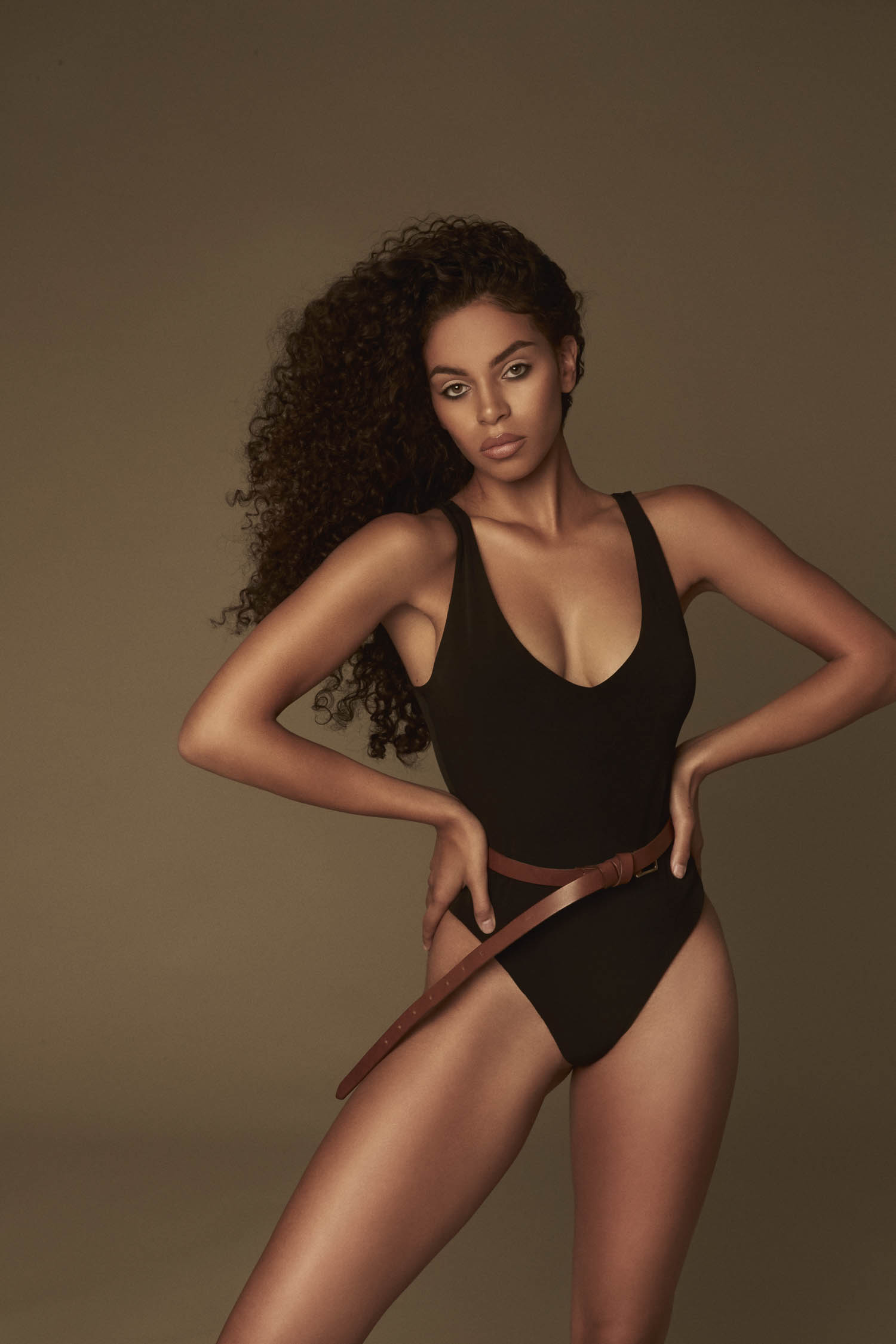 Model in bodysuit for portfolio session