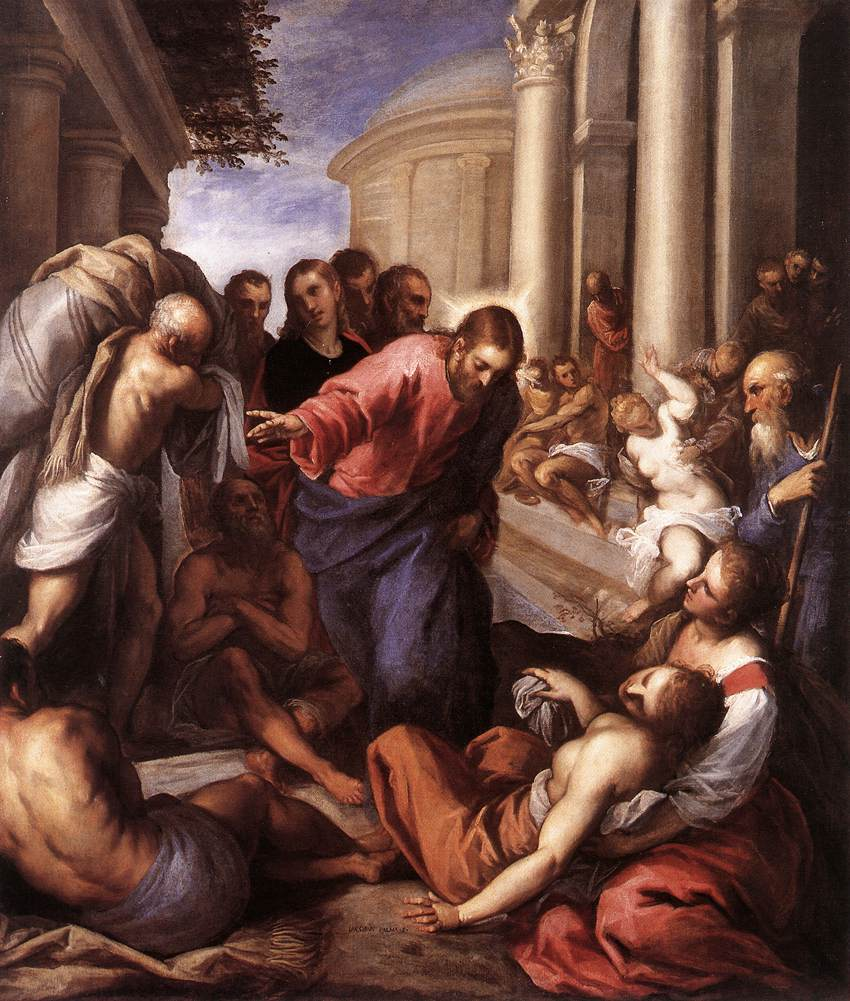 Christ healing the paralytic at Bethesda, by Palma il Giovane, 1592