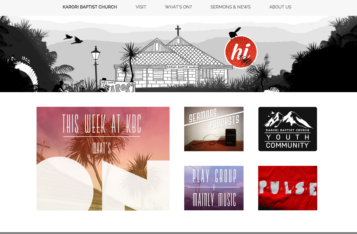 The new homepage, with clickable image links