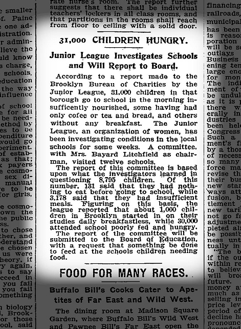 NY Times article from June 1912 about our school lunch initiative