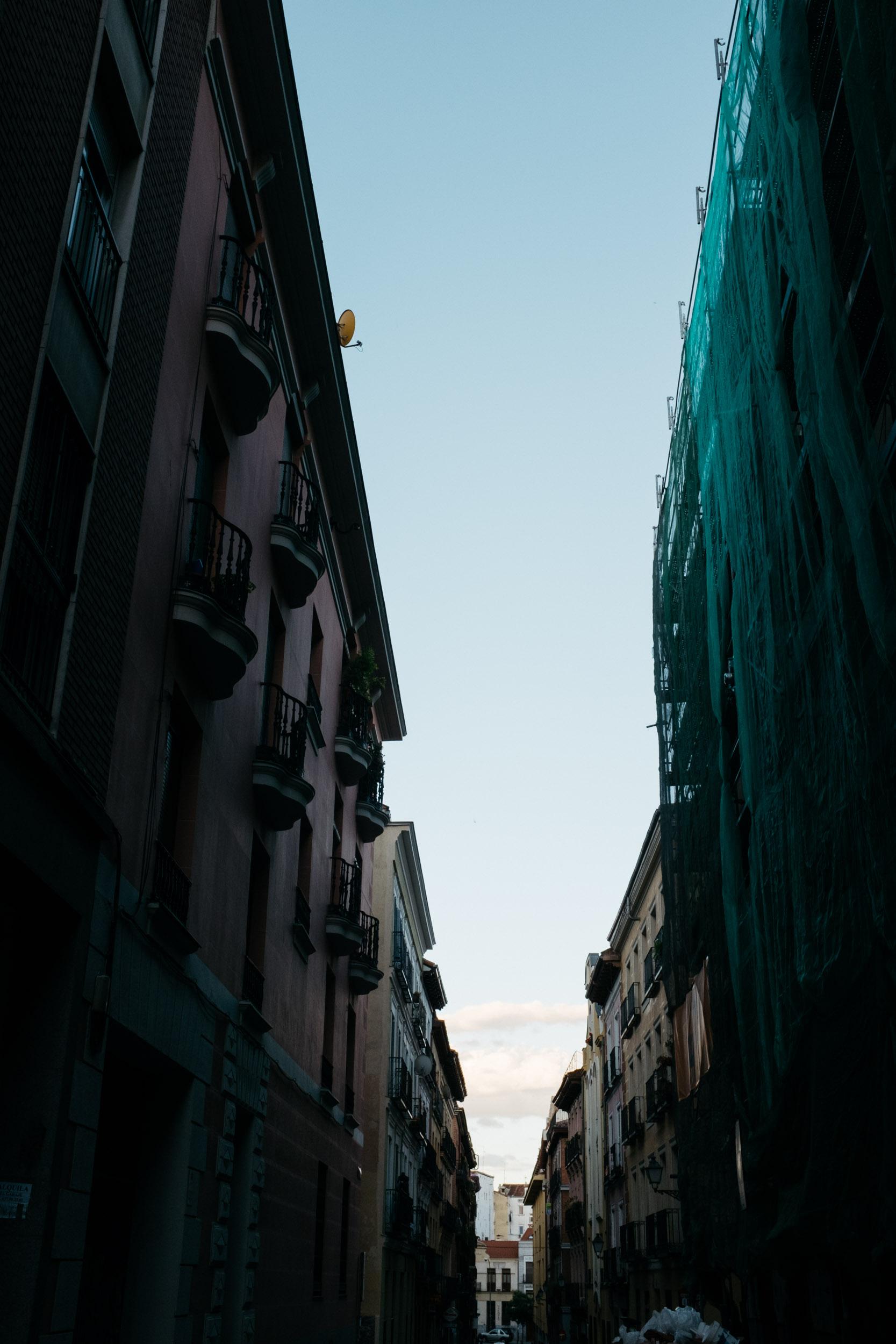 Sky between buildings in Europe