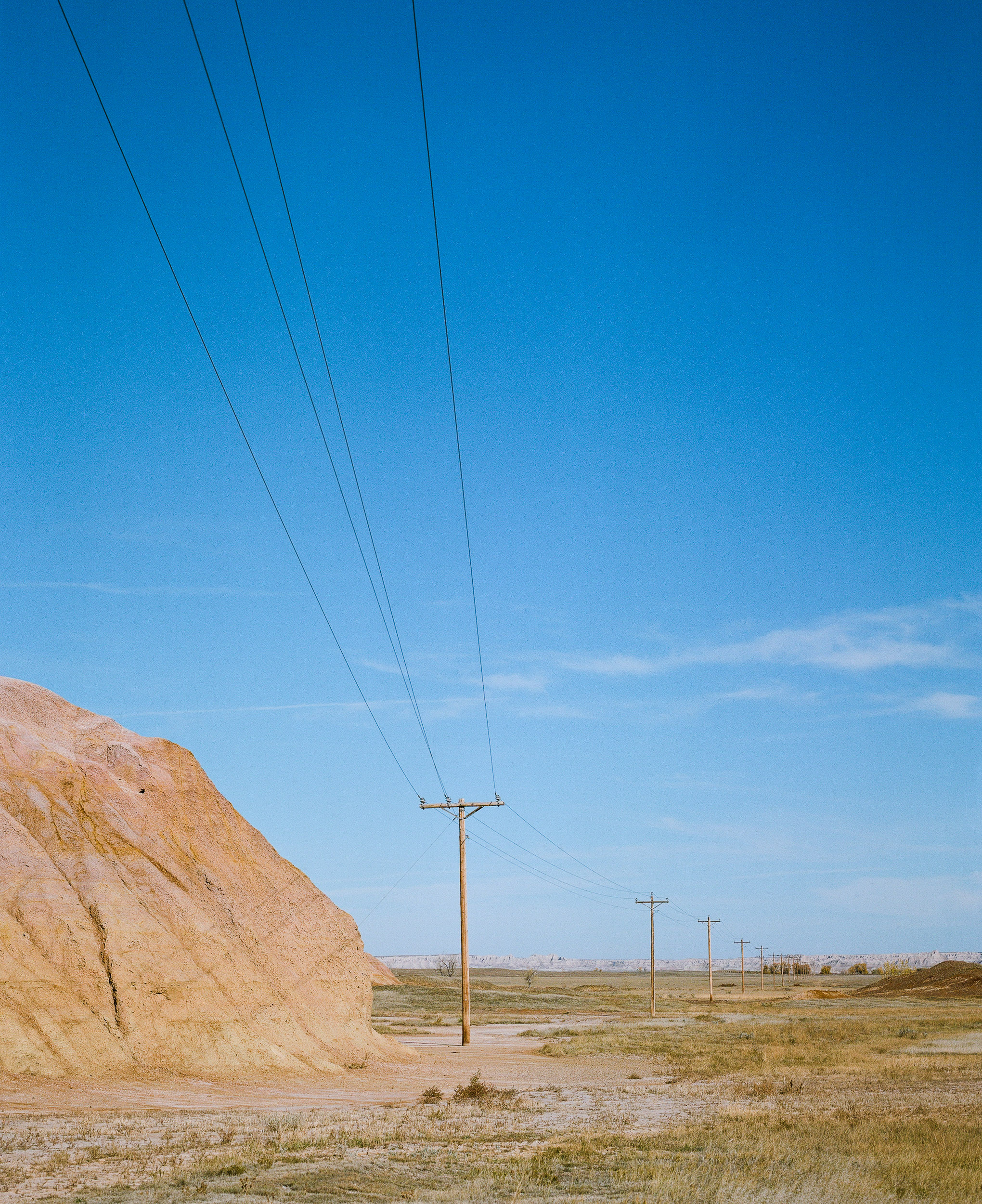 Telephone Poles through the Badlands South Dakota