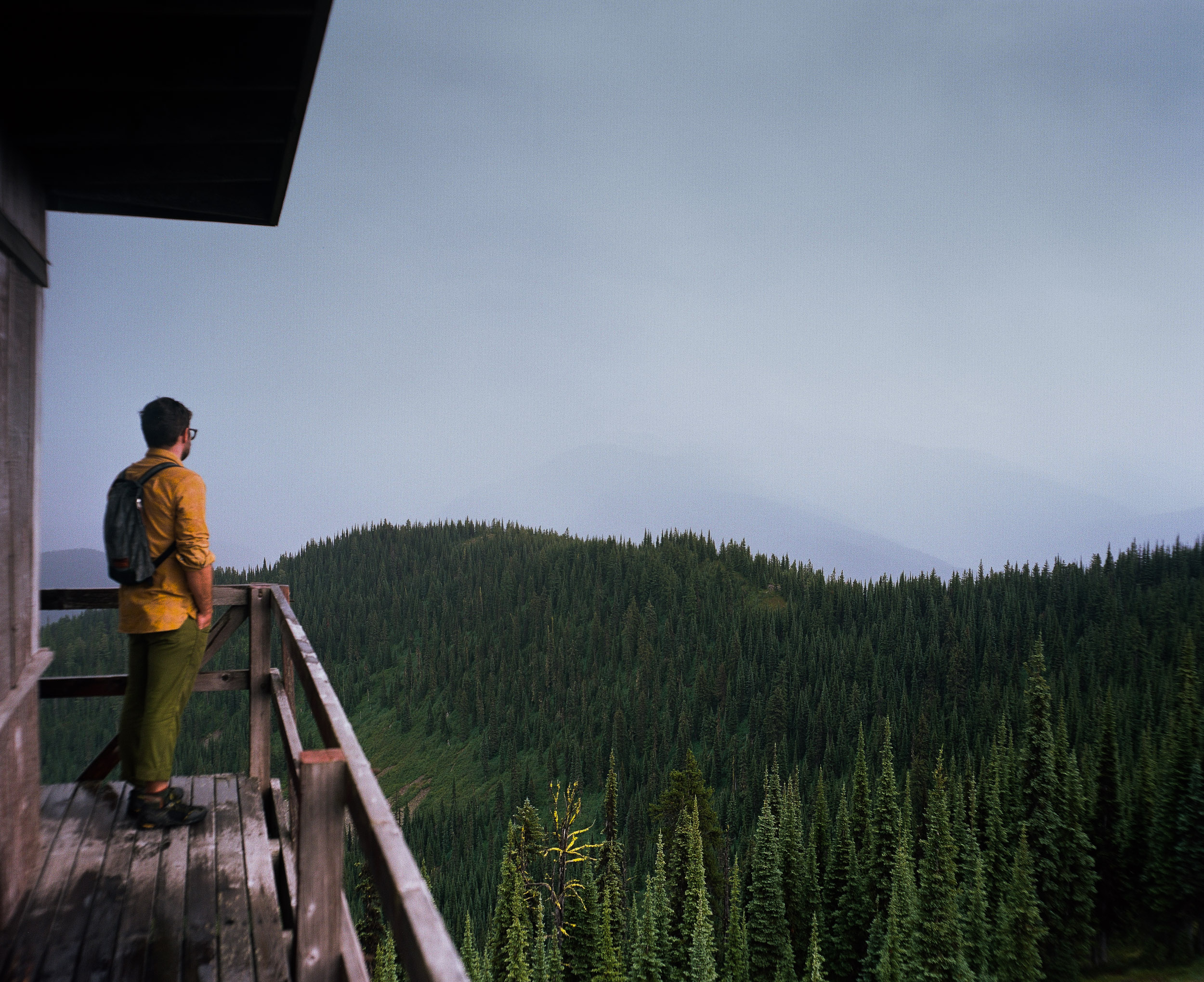 Hiker in Yellow shirt looking out over pine forest in Northern Montana