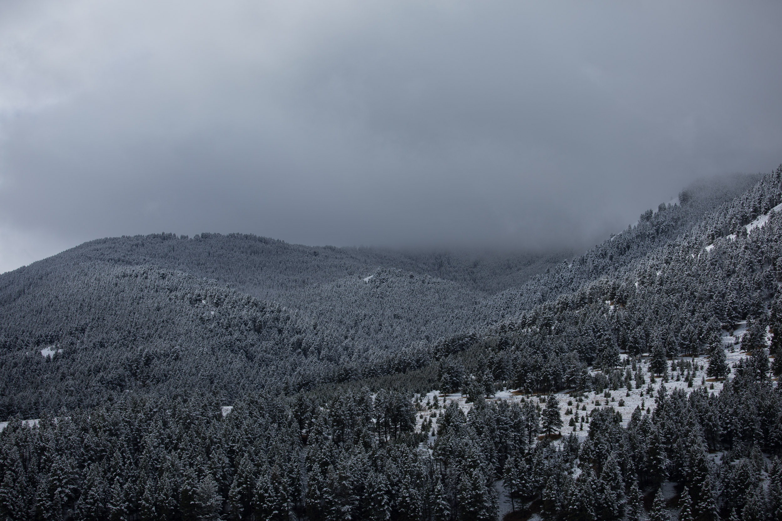Snow covered mountains, low clouds