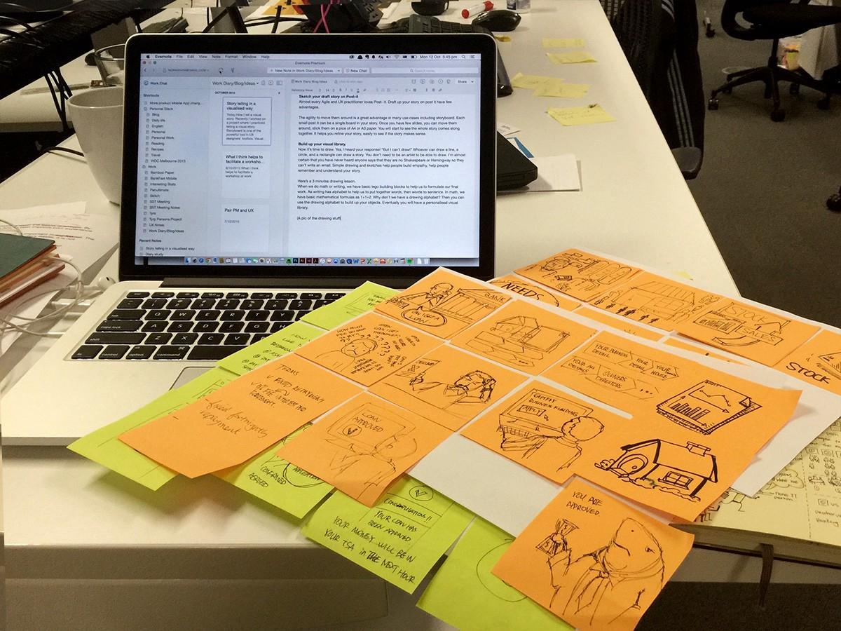 Storyboard draft on Post-it