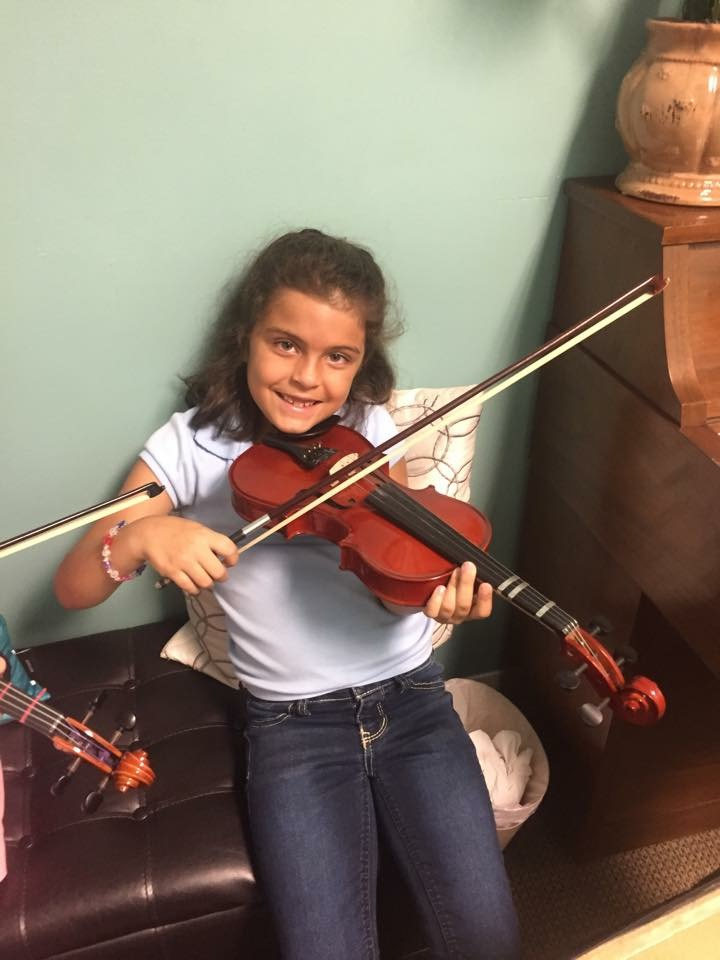 Violin group consists of ;learning correct posture, technique, and bowing holds. we begin to read music and play on the open strings first.
