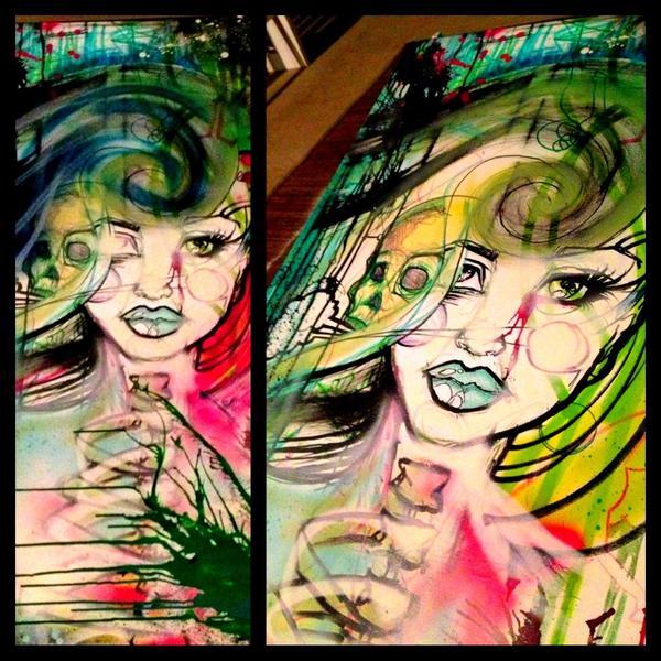 Collaboration with Matt Moore.  Multimedia- aerosol, pen/marker, acrylic, ink