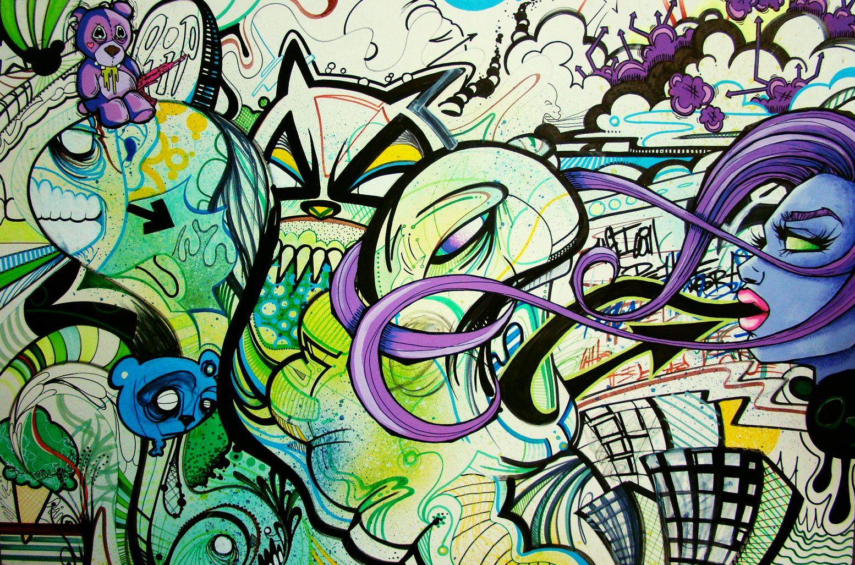 Collaboration with Matt Moore  Multimedia- Acrylic, pen/marker, aerosol